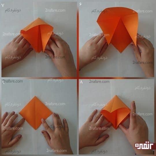 یک تایی که از قطر زدید را ازدو طرف به هم نزدیک کنید تا یک مربع بدست بیاید