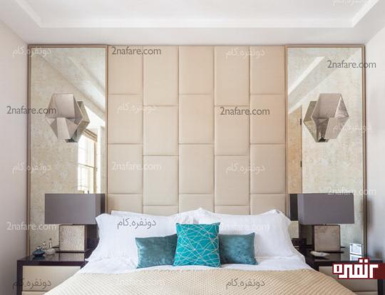 کاربرد آِینه در دیوار پشت تخت خواب