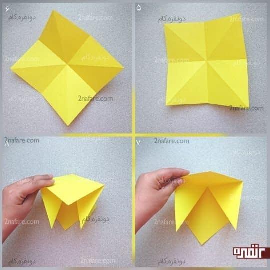 از یک قطر دو گوشه مربع را بگیرید و آنها را به هم برسانید