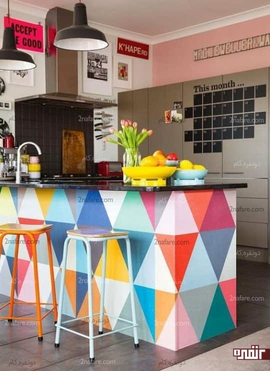 انتخاب رنگ های جسورانه برای طراحی و رنگ آمیزی جزیره ی آشپزخانه