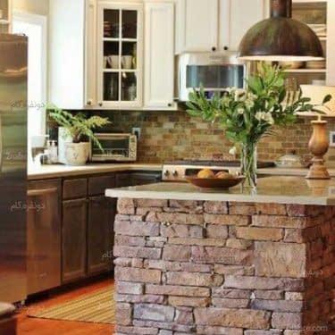 با استفاده از آجر در طراحی جزیره بافت رو به آشپزخونتون اضافه کنید