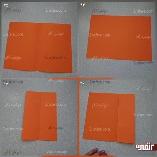 برای ساختن در جعبه یک کاغذ بردارید و مانند خود جعبه آن را به 8 قسمت مساوی تقسیم کنید