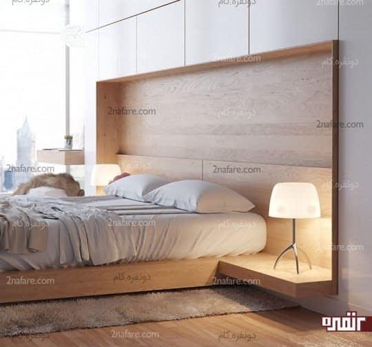 تخت خواب دونفره و پاتختی های متصل به تخت