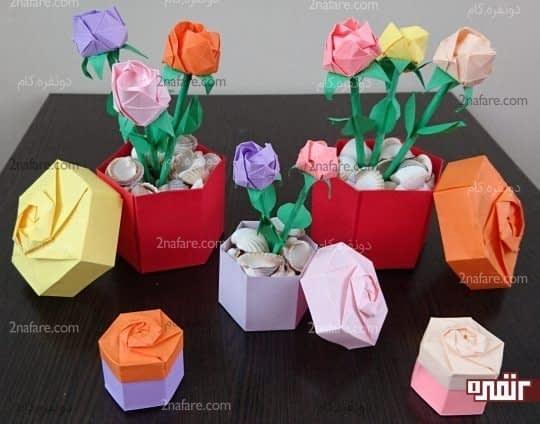 جعبه و گلهای رز