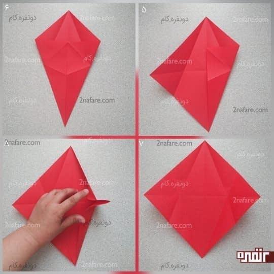 دو ضلع پایینی مربع را به خط تای وسط برسانید