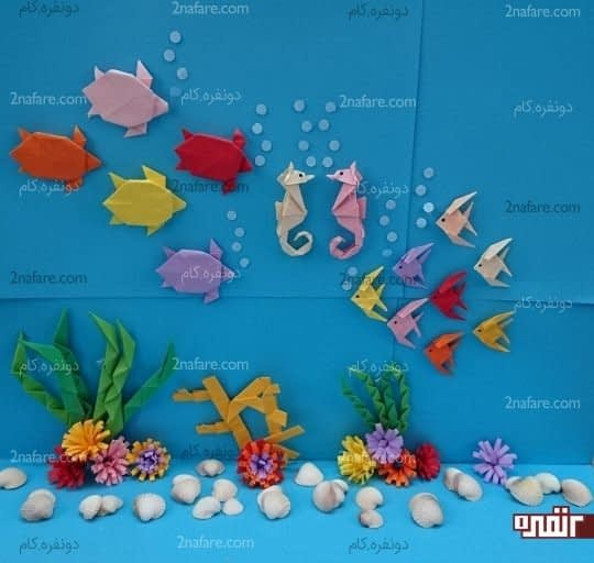 لاک پشت ها و ماهی ها در زیر آب