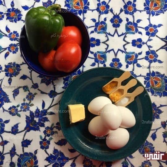 مواد لازم برای تهیه املت گوجه و فلفل