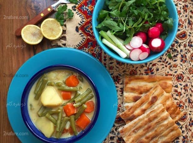 خوراک لوبیا سبز خامه ای