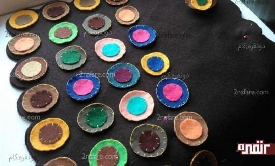 چسباندن دایره ها به رومیزی