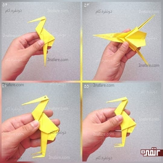 کار را از وسط باز کنید و مثلث سر لک لک را از روی خط تا به سمت پایین ببرید