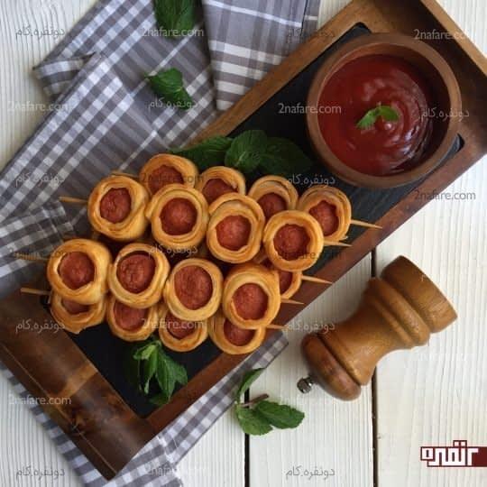 سوسیس چوبی با خمیر یوفکا