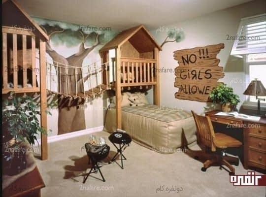 تخت خوابهایی به شکل خانه های چوبی