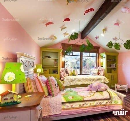 دکور سقف اتاق خواب با برگ های مصنوعی