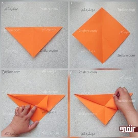 ضلع سمت چپ از مثلث روی کار را به سمت وتر مثلث ببرید ولی تا نکنید و فقط یک علامت کوچک روی خط تای قطری که قبلا تا کردید بیندازید