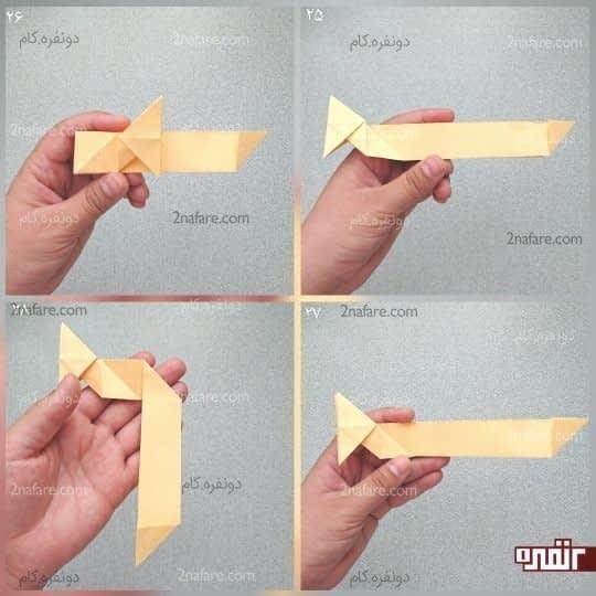 طول بالایی مستطیل را مانند شکل به خط تای صاف برسانید