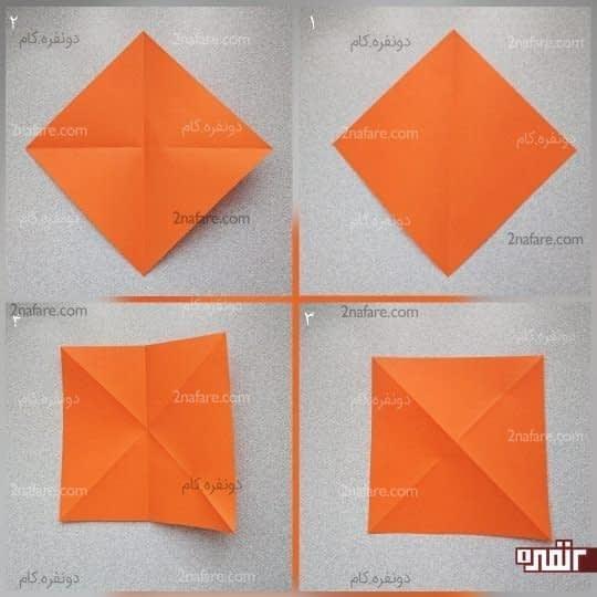 مربع را از دو قطر و از یک طول تا کنید