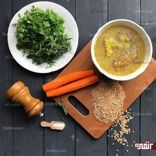 مواد لازم برای تهیه سوپ گندم و ترخون