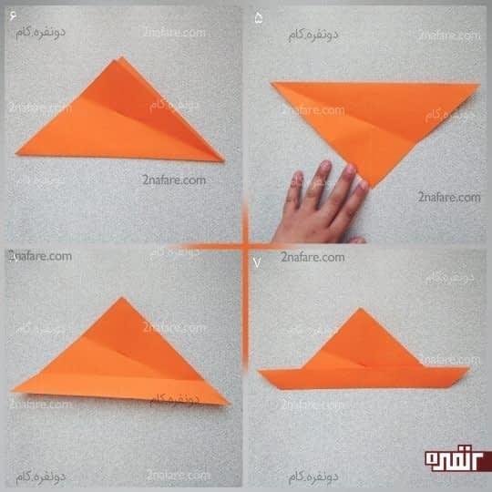 وتر مثلث را به نقطه ای که خط تای قطری و علامت کوچک همدیگر را قطع کردند برسانید