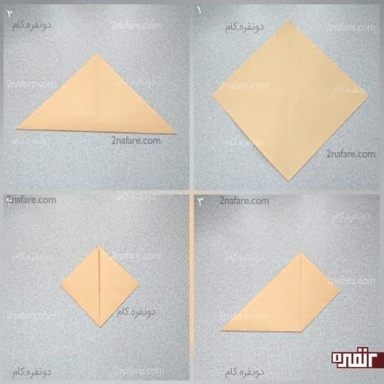 گوشه سمت راست و چپ مثلث را به راس برسانید