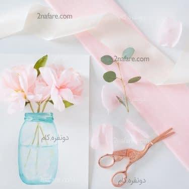 گلدان با گل هاي سه بعدي