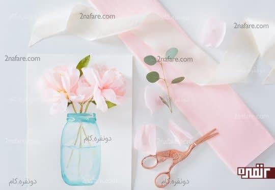 گلدان با گل های سه بعدی