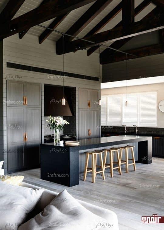 آشپزخانه ای مدرن و زیبا با استفاده از رنگ خاکستری