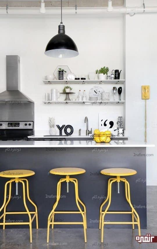 استفاده از رنگ زرد در جزئیات آشپزخانه