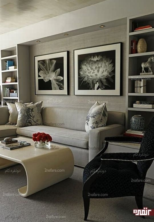 انتخاب تابلوهایی با حاشیه ی سفید برای دیوارهای خاکستری