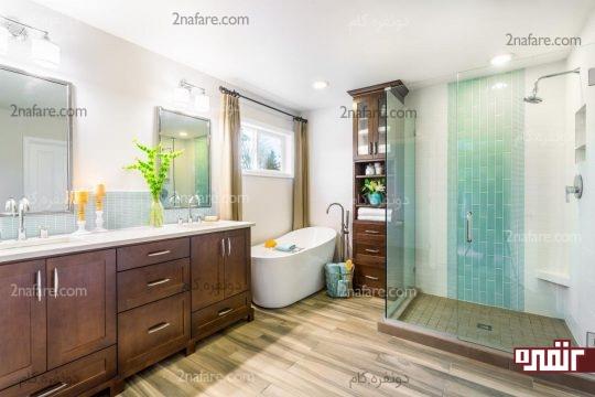 با توجه به ابعاد حمام کابینت مناسب برای نگهداری وسایل را انتخاب کنید