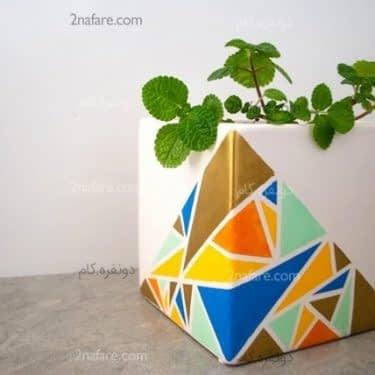 تزئین گلدان با طرح های هندسی رنگارنگ