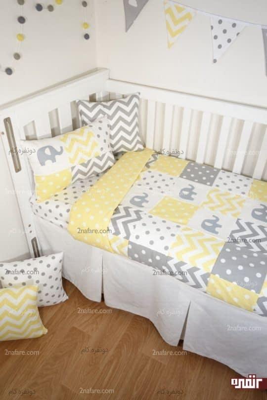 خاکستری و زرد در اتاق کودک