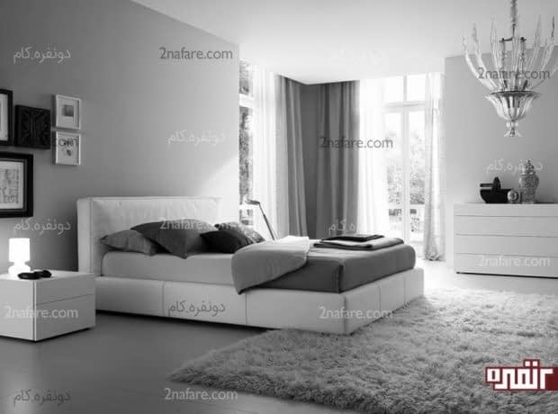 رنگ سفید و خاکستری در دکوراسیون اتاق خواب