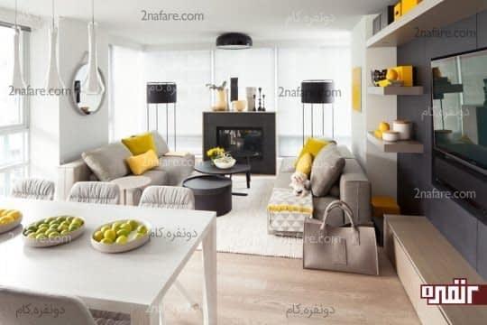 سفید، خاکستری و زرد زیبا در اتاق نشیمن