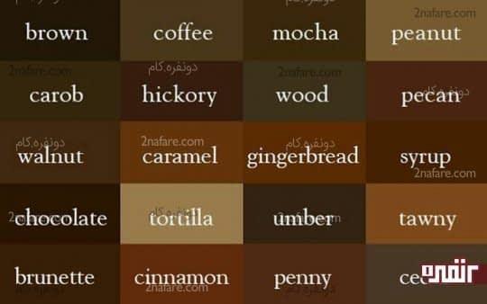 پالت رنگ قهوه ای