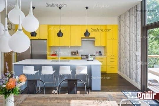 کابینت هایی به رنگ زرد
