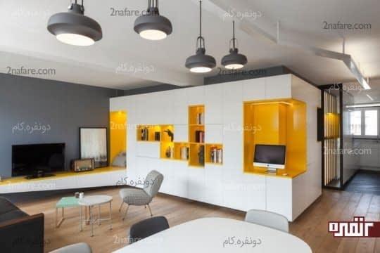 کتاب خانه ای به رنگ زرد در دیوار خاکستری