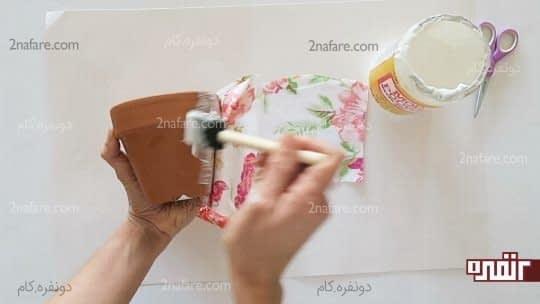 چسباندن پارچه به گلدون