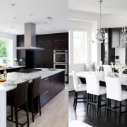 آشپزخانه ای لوکس با ترکیب رنگ سفید و مشکی