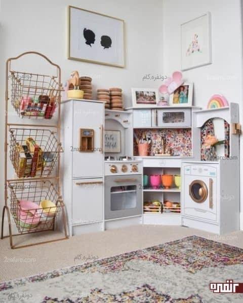 آشپزخانه ای کوچک و زیبا جزئی از اتاق کودک