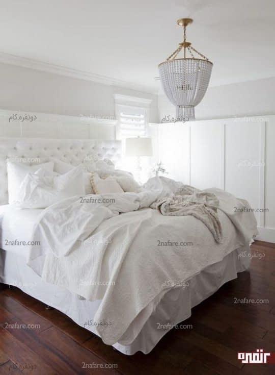 اتاق خوابی زیبا با بافت های متنوع