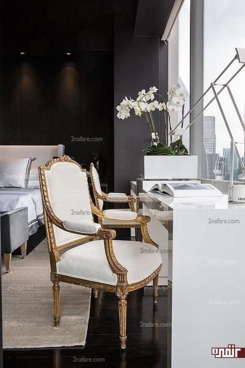 اتاق خواب مدرن با ایجاد میز بوسیله پنجره