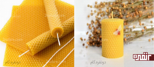 با چندبرگ موم زنبورعسل ونخ پنبه ای شمع طبیعی بسازید