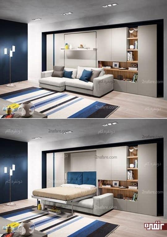 تبدیل اتاق نشیمن به اتاق خواب با استفاده از مبلمان های چندکاره