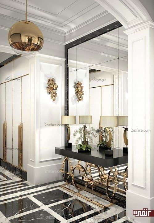 ترکیب زیبایی از سنگ مرمر و آینه در کنار اکسسوری های زیبای طلایی