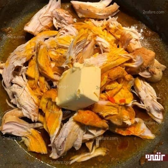 تفت دادن مرغ پخته
