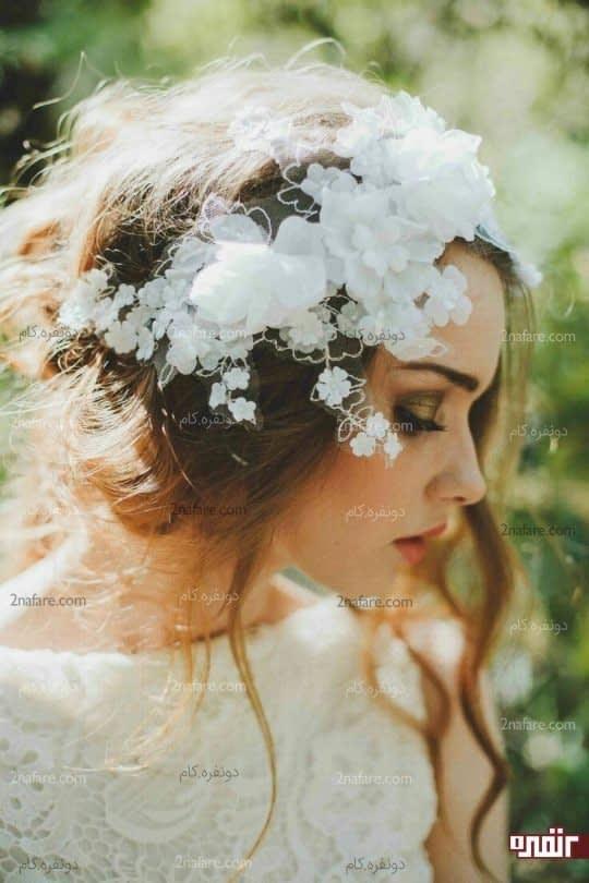 گل های زیبای حریر برای تزیین تور سر عروس
