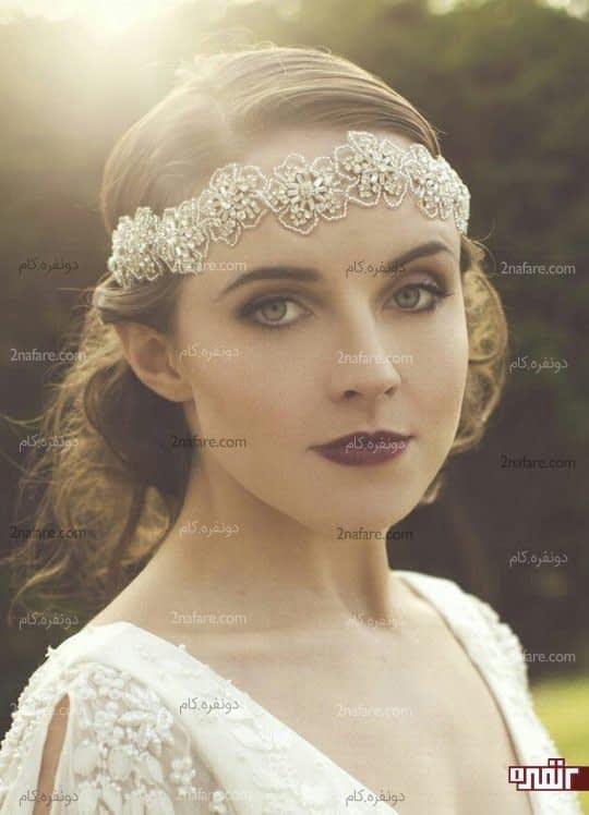 تور عروس خاص با تزیینات زیبای منجوق کاری
