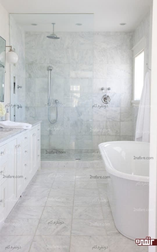 حمام سفید با پوشش سنگ مرمر