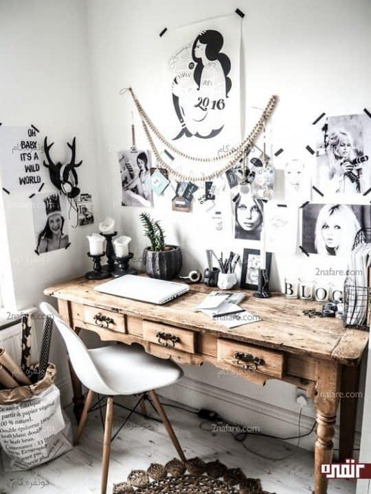 دکور اسکاندیناوی و فضایی روستایی با میز عتیقه