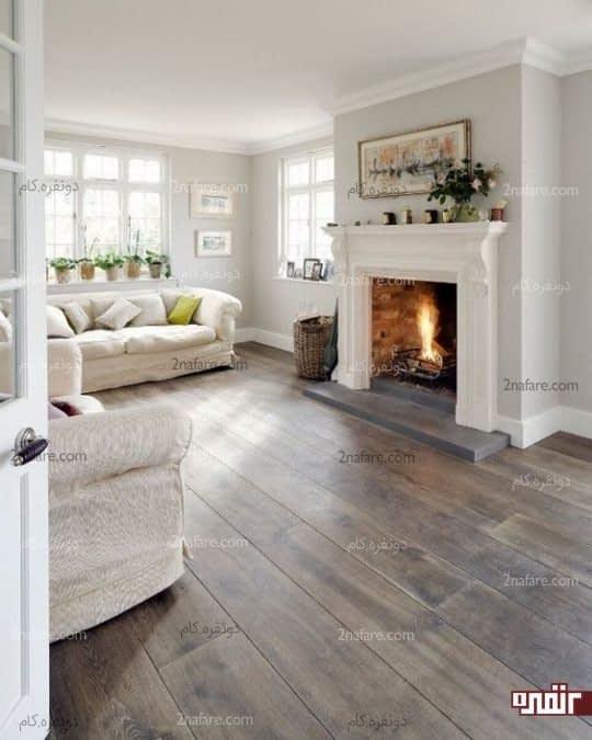 دیزاین متفاوت برای اتاق نشیمن سفید با کفپوش های چوبی